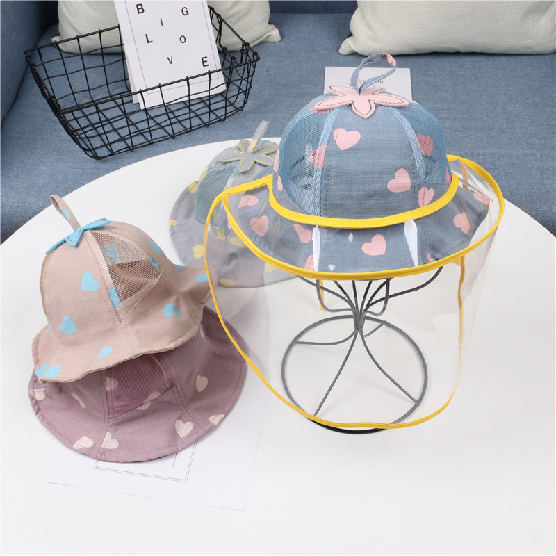 2020 Baby Summer Accessories Girl Boy Cute Mesh Hats Summer Bucket Floral Sun Hat With Anti-Spray Mask
