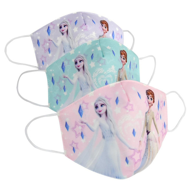 2020 Anti Pollution Elsa Anna Print Mask Adult Kids Dust Respirator Washable Reusable Masks Cotton Unisex Reusable Mouth Muffle