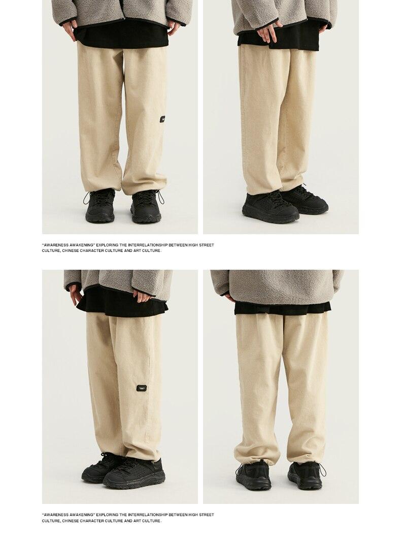 INFLATION Design Mens Winter Corduroy Jogger Pants Pure Color Loose Overalls Men Jogger Corduroy Pants Elastic Waist 93345W 4