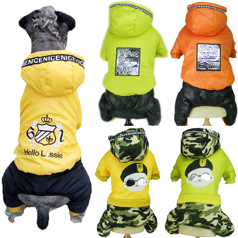 Dog Jumpsuit Winter Pet Clothes Four Legs Thick Fleece Warm Dog Hooded Parka Puppy Cat Warm Pets Jumpsuits Coat Overalls Costume