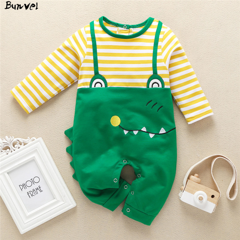 Bunvel Toddler Kids Baby Girl Boy Rompers Jumpsuit Jumpers Patchwork Animal Pattern Infant Baby Girls Boys Striped Jumpsuit 2020