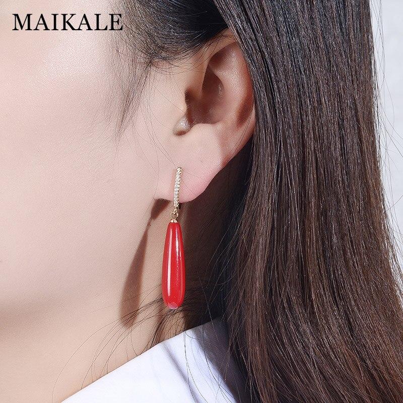 MAIKALE Simple Drop Earrings With Pearl AAA Cubic Zirconia Plated Gold Water Drop Shape Korean Earrings For Women To Gift