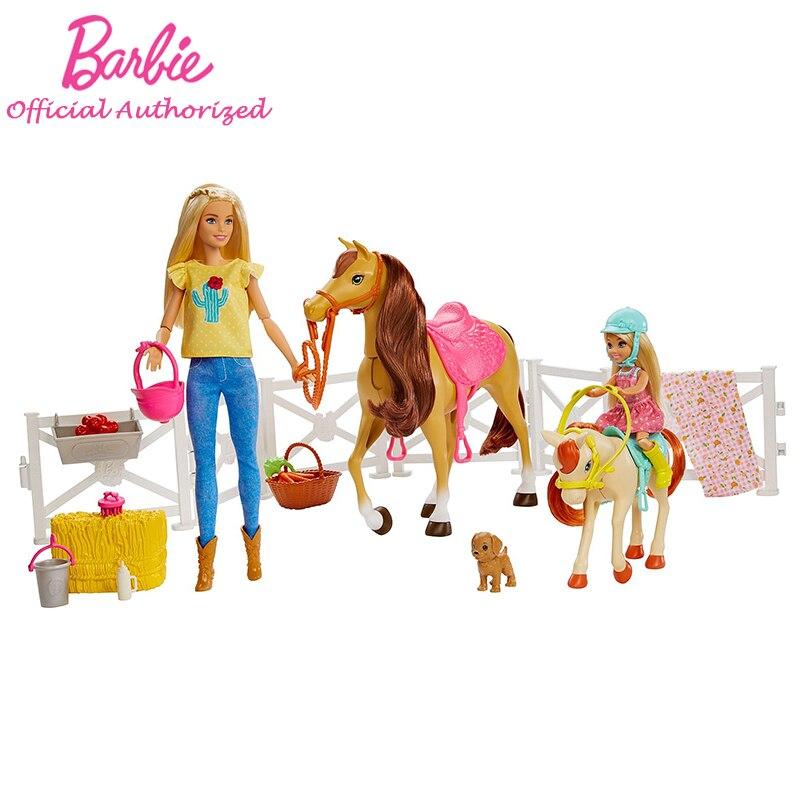 Barbie fille fermier série poupée jouet drôle enfant jouets poupée et cheval accessoires avec deux Barbie Brinquedos FXH15 intérieur amitié