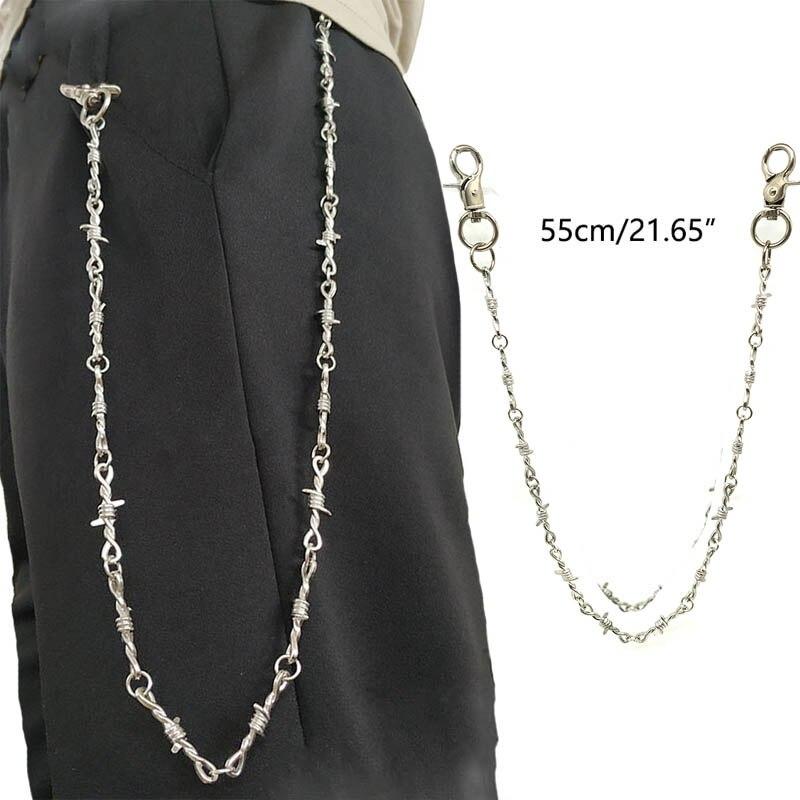 Stainless Steel Silver Biker Goth 55 cm Long Men/'s Jean Key Wallet Chain