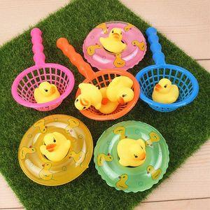 5pcs/set Mini Baby Children Bath Toys Cute Rubber Squeaky Duck Fishing Net Swimming Rings Bathroom Swimming Pool Shower Games(China)