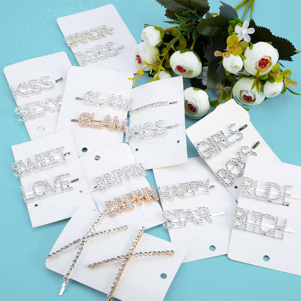 Heißer 2 teile/satz Brief Glänzende Barrettes Für Frauen BB Barrettes Strass Haar Clips Kristall Wort Haar Clips Haar Zubehör