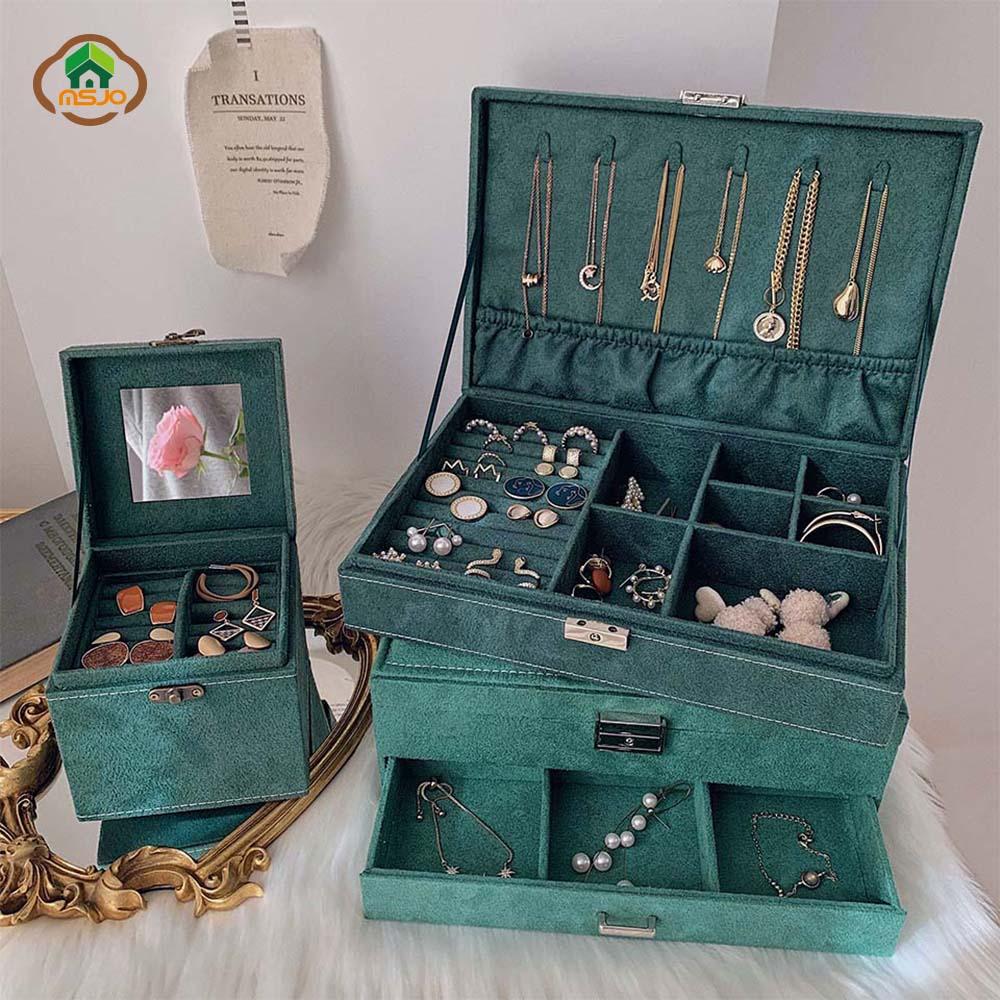 MSJO Jewelry Box Organizer Earrings Watch Drawer Jewelry Organizer Hanging Necklace Gift Box Storage Velvet Drawer Storage Box