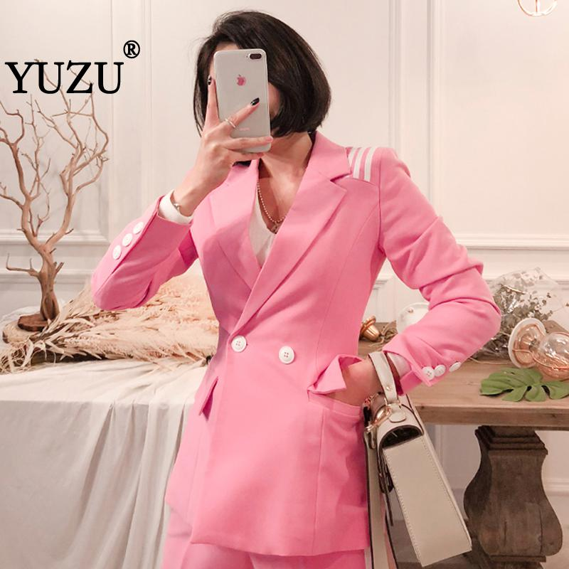 Pink Women's Double Breasted Business Suit 2 piece set Female Blazer Coat Party Prom office Costume Suits Pencil Slim Long Pant