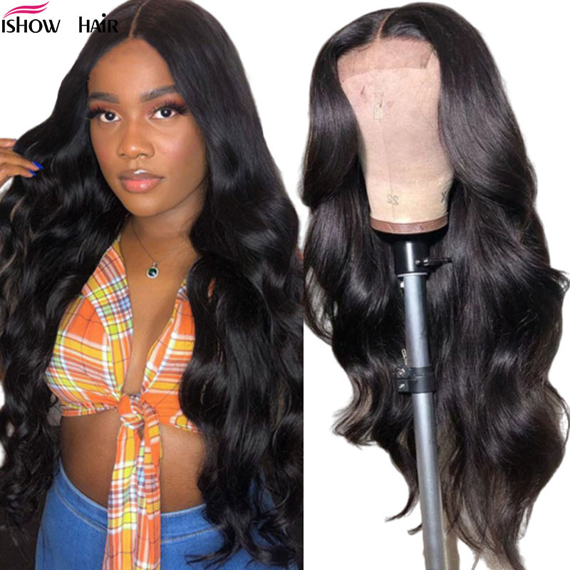 Ishow 4x4 Lace Closure Wig Pre Plucked Brazilian Body Wave Lace Front Human Hair Wigs For Black Women 150% Remy Lace Front Wig