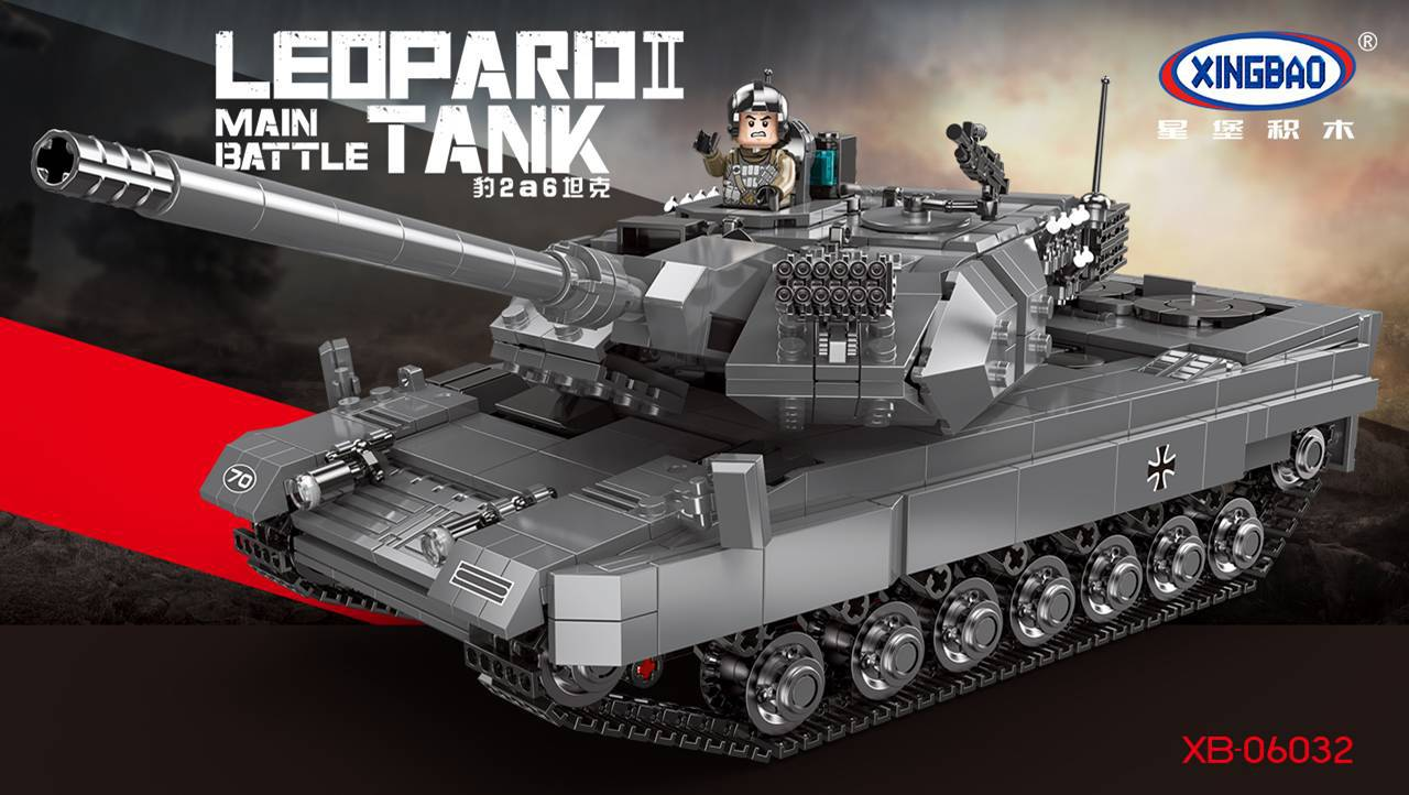 PRE-SALE XINGBAO Xb-06032 Leopard 2A6 Tank Model Fight Inserted Small Particles Military Building Blocks Assembled Educational T