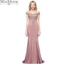 Lange Meerjungfrau Rosa Abendkleid Ärmel Formalen Kleid 2020 Elegante Weg Von Der Schulter Spitze Applique Ärmel robe de soiree