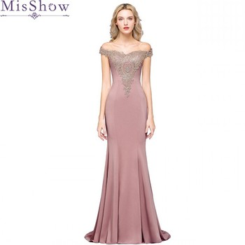 Long Mermaid Pink Evening Dress Sleeveless Formal Gown 2020 Elegant Off The Shoulder Lace Applique Sleeveless robe de soiree 2019 mermaid long evening dress off the shoulder applique evening gown robe de soiree