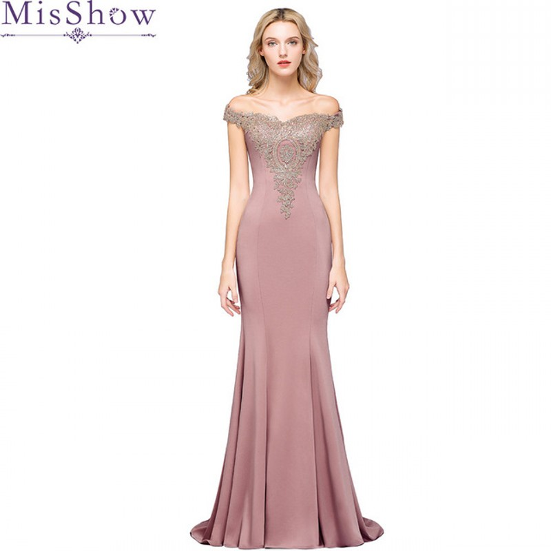 Pink Long Evening Dress 2019 Elegant Mermaid Sleeveless Formal Gown Gold Lace Applique Royal Blue Evening Dresses
