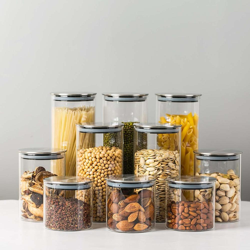 300/500/750/1000ML Glass Airtight Storage Jars Kitchen Food Storage Canister Containers For Candy Cookies Sugar Flour