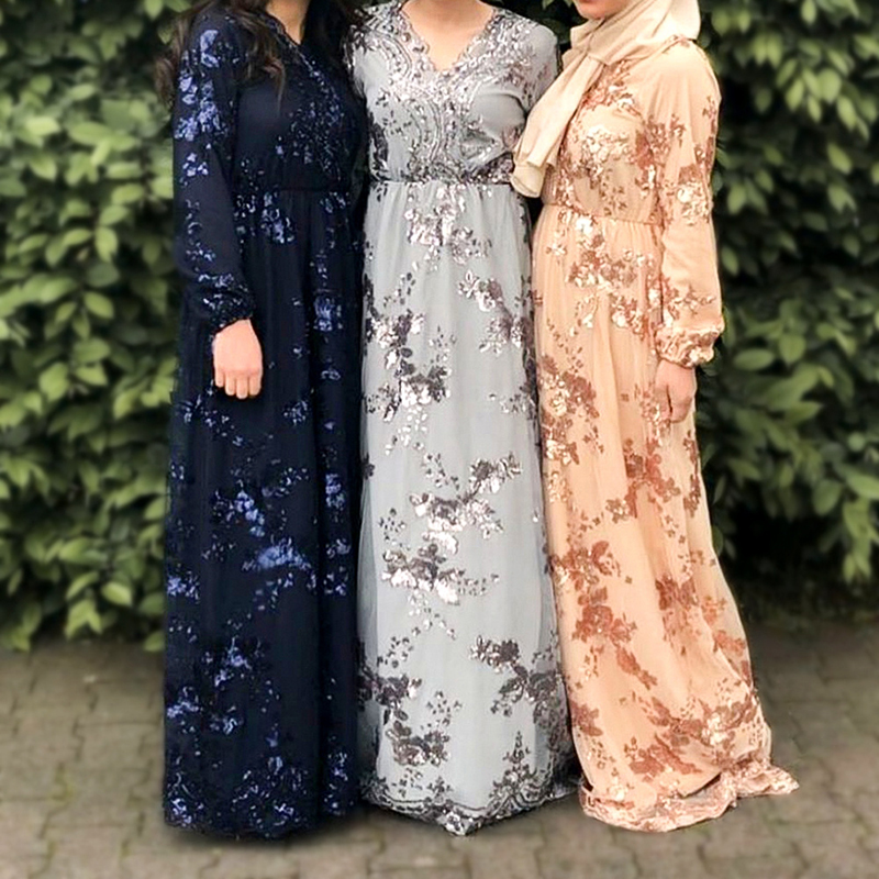 Sequin Abaya Dubai Turkish Dresses Muslim Dress Abayas For Women Hijab Dress Kaftan Turkey Islamic Clothing Caftan Maroc Omani