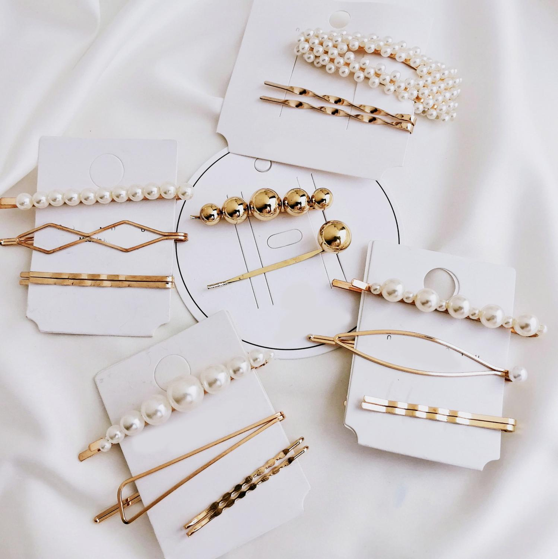 Hair-Clip-Combination Barrette Hair-Styling-Accessories Pearl Metal Gold Girls Korean