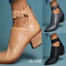 2019 Women Cut Out Booties Buckle Strap Back Zipper Leather Stitch Ankle Casual Boots Female Shoes calzado mujer