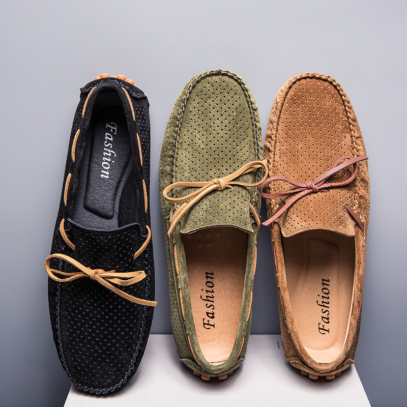 Moccasins Men Casual Suede Leather Shoes Summer Breathable Men's Loafers Slip On Driving Shoes Sapato Masculino Zapatos Hombre
