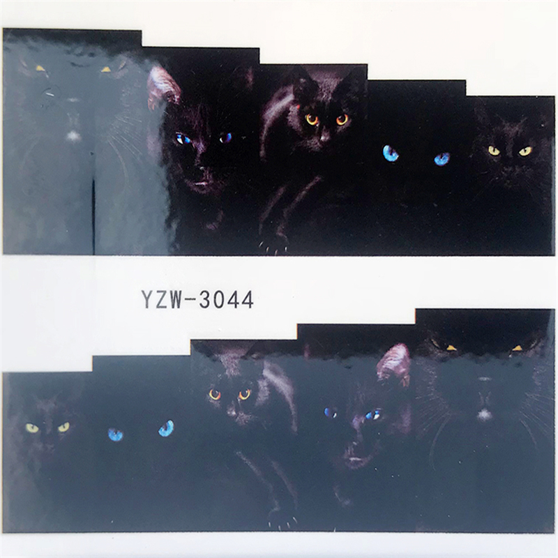 1PC Fashion Harajuku Retro Animal Cat Flora Flower Water Transfer Nail Art Sticker Decal Slider Manicure Tool Tips
