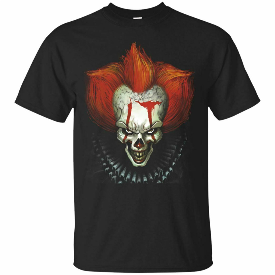It Pennywise Black, Navy T-Shirt Halloween Horror Scary Movie Shirt Short Sleeve Cool Gift Personality Tee Shirt image