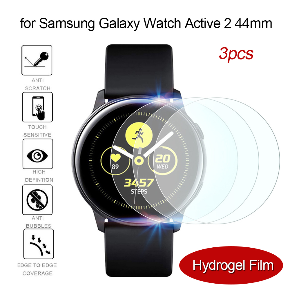 3PCS Hydrogel Film For Samsung Active Watch 2 44mm Screen Protector 3D Full Coverage Protection Bubble Free Easy To Install