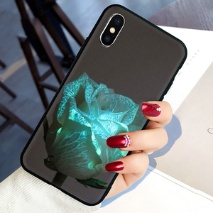 Glowing rose in the dark Beautiful Soft Silicone phone cover case for iphone 5 5S SE 2020 6 6S 7 8 plus X XR XS 11 Pro Max(China)