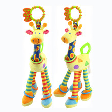 Stuffed & Plush Animals Giraffe toys lathe pendant short Plush doll Animals Music/Sound infants 0-2 years old baby hand bell toy