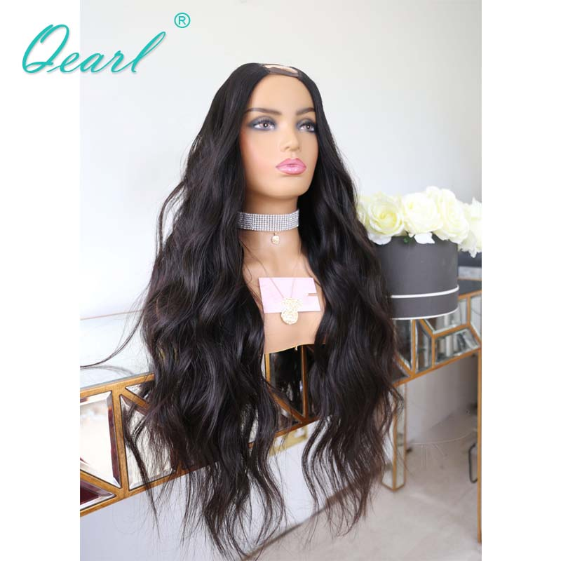 Human Hair U Part Wig 2x4 Middle Opening Natural Wave Peruvian Remy Hair Glueless Wigs for Black Women 150% 180% Density Qearl