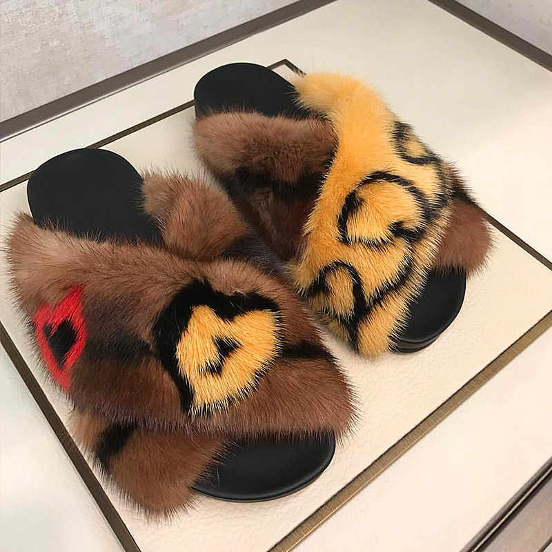 Leopard Mink Slippers Women Winter Slides Warm Flat Shoes Women Outdoor Chanclas Mujer Chic Ladies Shoes Luxyry Sapato Feminino