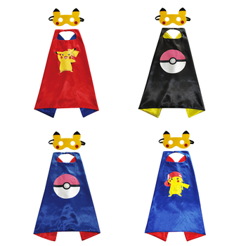 Pokémon zabawki Pikachu figurki Anime prezent płaszcz maska ubrania typu Cosplay Pokemon dekoracja urodzinowa prezent dla dzieci zabawki tanie i dobre opinie TAKARA TOMY Torba na prezent Hasło bezpieczeństwa 25-36m 4-6y 7-12y CN (pochodzenie) Unisex 64 5cmx64 5cm Odzież Buty Czapka