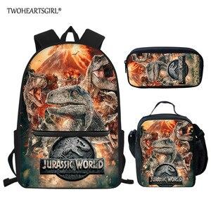 Twoheartsgirl dinossauro impresso 3 pçs conjunto sacos de escola para o estudante alta qualidade mochila portátil meninos escola legal mochila