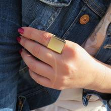 Простые глянцевые Квадратные Кольца Золотое кольцо в стиле панк