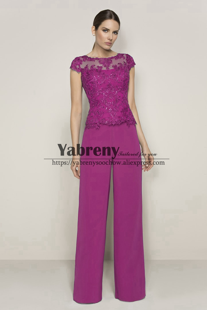 Rose Red Mother Of The Bride Pant Suits Evening Dresses