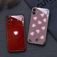Amor coração caso do telefone móvel para o iphone 12 11 pro xs max se 7 8 plus xr led 6 tipos de luz cor mudança à prova de choque vidro coque