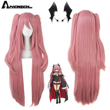 Anogol Brand Anime Krul Tepes Wig Pink Double Ponytail Synthetic Cosplay Wig Natural Long Straight Wig for Women Costume Party