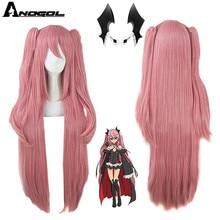 Anogol marca anime krul tepes peruca rosa duplo rabo de cavalo sintético peruca cosplay natural longa reta peruca para festa de fantasia feminino