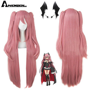 Image 1 - Anogol marka Anime Krul Tepes peruk pembe çift at kuyruğu sentetik Cosplay peruk doğal uzun düz peruk kadınlar için kostüm partisi