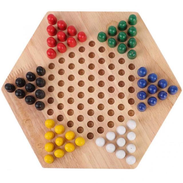 Jeu de dames chinois en bois conseil éducatif enfants classique Halma jeu de dames chinois stratégie famille jeu pièces Backgammon 3