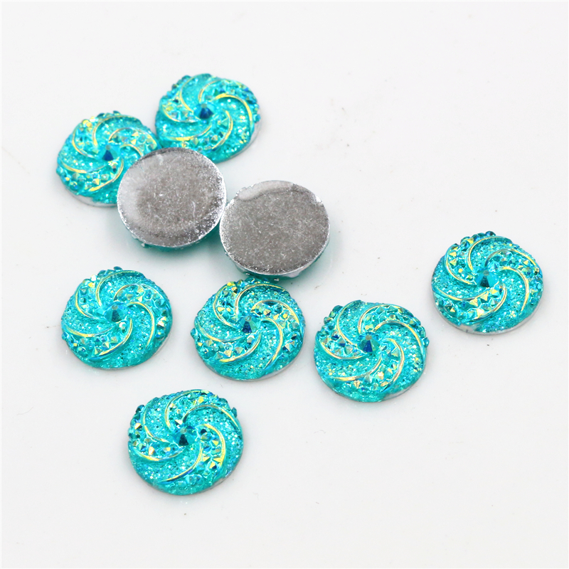New Fashion 40pcs 12mm Water Green AB Colors Windmill Style Flat Back Resin Cabochon For Bracelet Earrings Accessories-G1-02