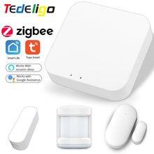 Akıllı ev Tuya Zigbee ağ geçidi Hub kapı pencere PIR sensörü ev otomasyonu akıllı yaşam App ses uzaktan kumanda Alexa Google ev