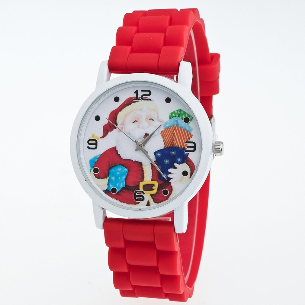 Lady's Girl Christmas Quartz Watch Silicone Watch Strap Santa Pattern Colorful Wristwatch Best Christmas Gift For Friends Kids