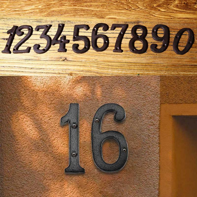 Metallo Numeri Cast di Ferro Della Decorazione Segno della Casa Doorplate FAI DA TE Cafe Parete per Appartamento Hotel Street Garden Outdoor Decor