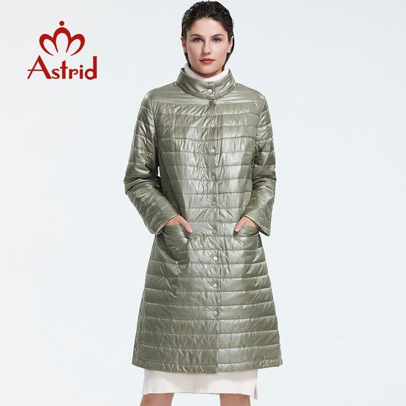 Astrid 2019 Outono nova chegada mulheres jaqueta plus size gola mid-comprimento parque com botão de pressão das mulheres quente jaqueta AM-1957