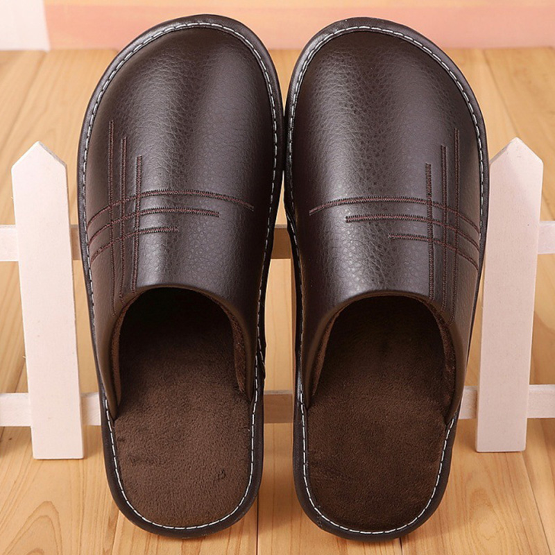 Soft Short Plush Men's Slippers Plus Size 35-46 Indoor Leather Slippers Winter Fashion Shoes 2019 New Unisex Home Slippers
