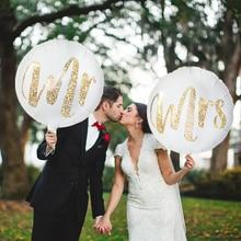 2/3/5pcs 18inch White Gold Glitter Print Mr&Mrs Foil Balloons Heart LOVE Helium Ballon For Wedding Party Decor Globos Photo Prop