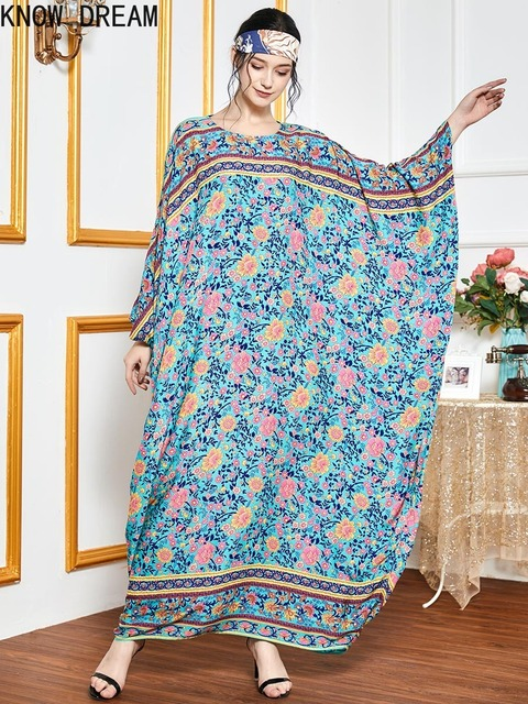 KNOW DREAM Oversized Loose Bat Sleeve Robe Muslim Hui Dubai Long Sleeve Women Dress Summer Dress 3