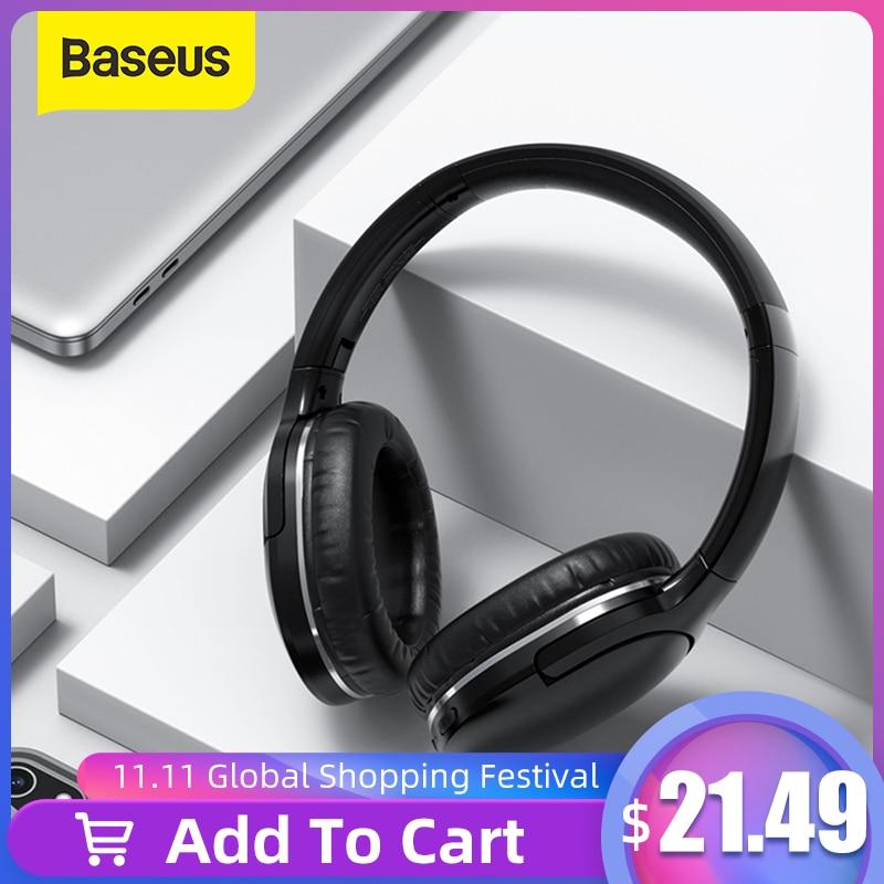 Baseus D02 Pro bezprzewodowe słuchawki Bluetooth słuchawki Stereo HIFI składany sportowy zestaw słuchawkowy z kablem Audio dla tabletu iphone