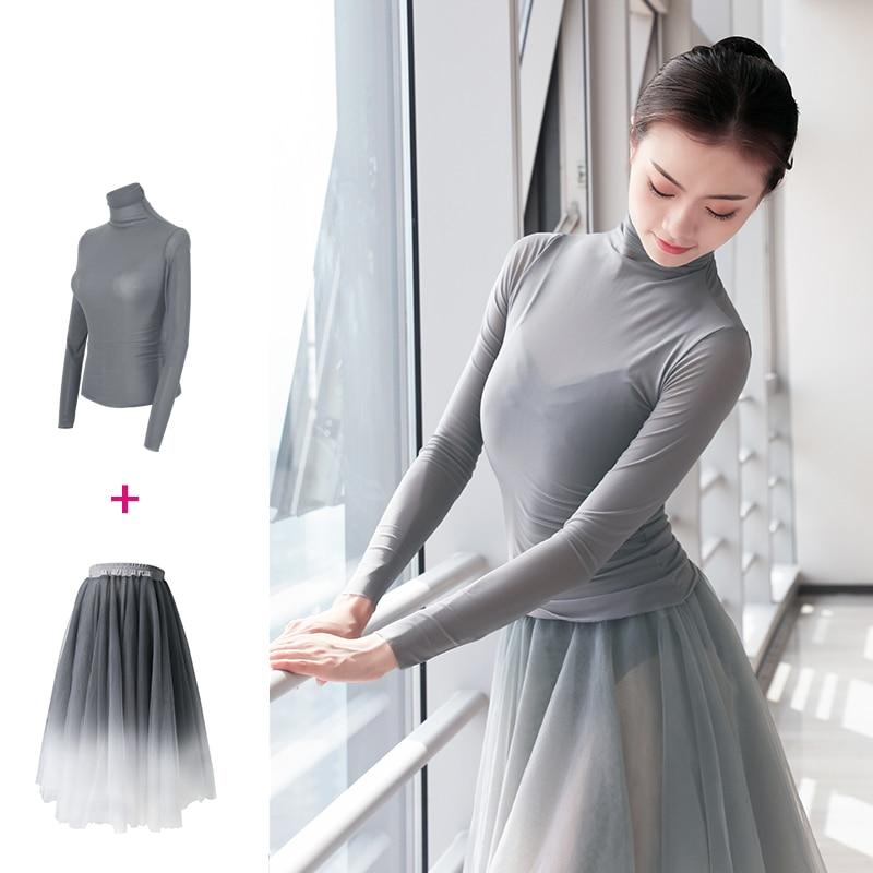 New Arrivals Ballet Tops Skirt Suits Women Adults Lyrical Dance Skirt Long Chiffon Wrap Skirt 2 Piece Dance Costume For Ballet