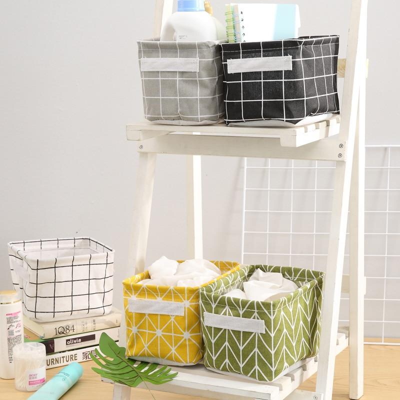Linen Desktop Storage Basket Sundries Underwear Toy Storage Box Cosmetic Book Organizer Stationery Container Laundry Basket