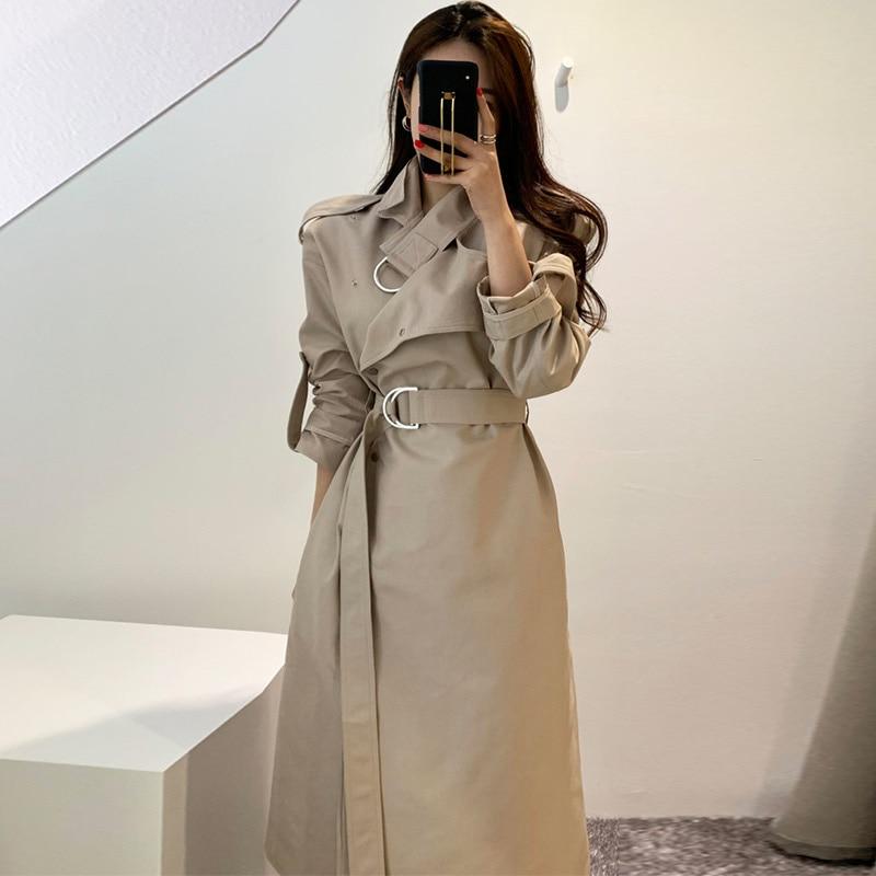 Korean Design Women Long Sleeve Cloak Long   Trench   Coat Female Oblique Single Breasted Straight Windbreaker Overcoat Manteau